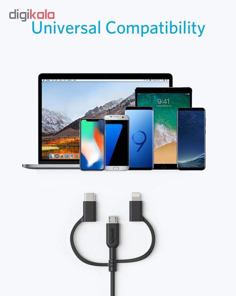 کابل تبدیل USB به لایتنینگ/USB-C/microUSB انکر مدل a8436 Power line2 طول 0.9 متر main 1 4