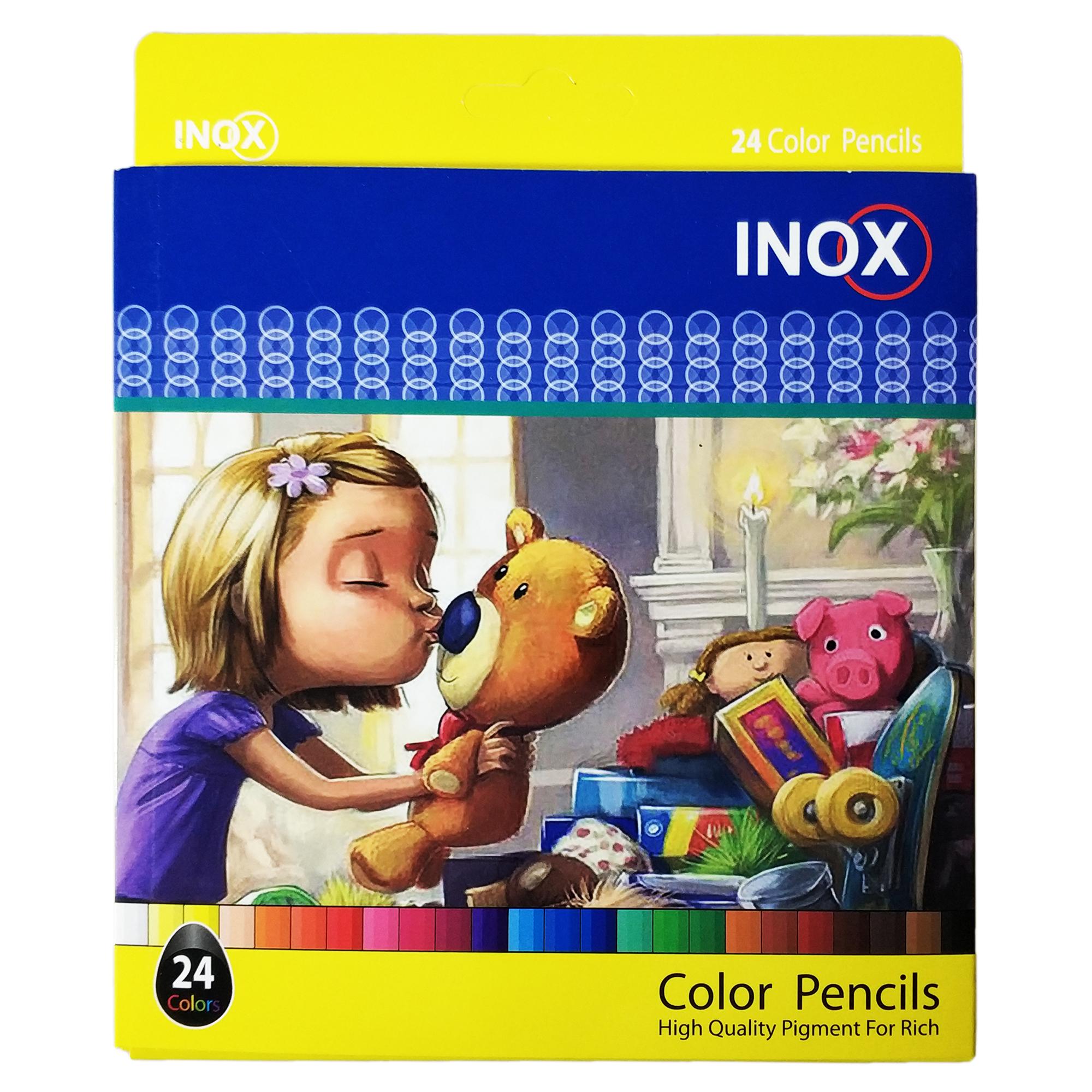 مداد رنگی 24 رنگ اینوکس طرح Girl & Toys کد 301027