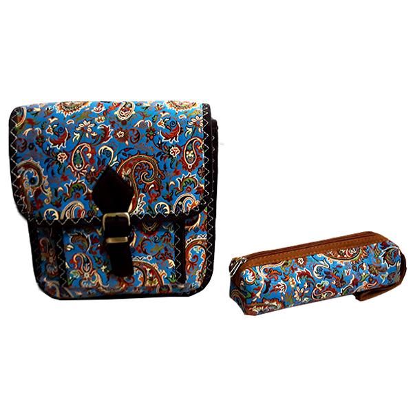 کیف رو دوشی ترمه مدل بته جقه به همراه کیف آرایش مدل بته جقه