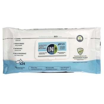 دستمال مرطوب حمام یونی لد مدل Antibacterial Hygenic بسته 24 عددی
