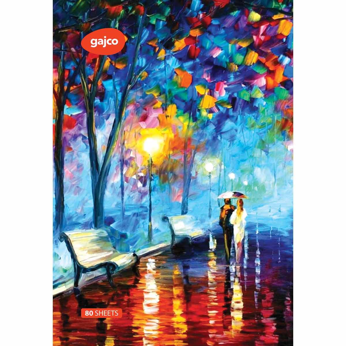دفتر 80 برگ گاجکو طرح نقاشی عاشقان در زیر باران با رایحه شکلات
