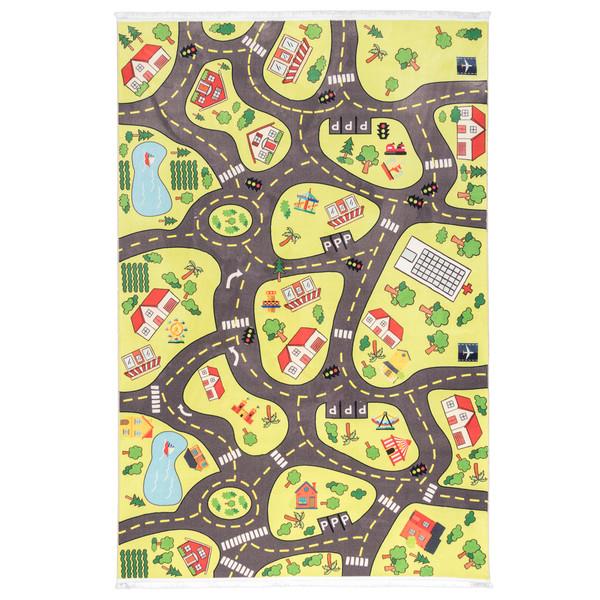 فرش ماشینی محتشم طرح کودک کد 100241 زمینه سبز