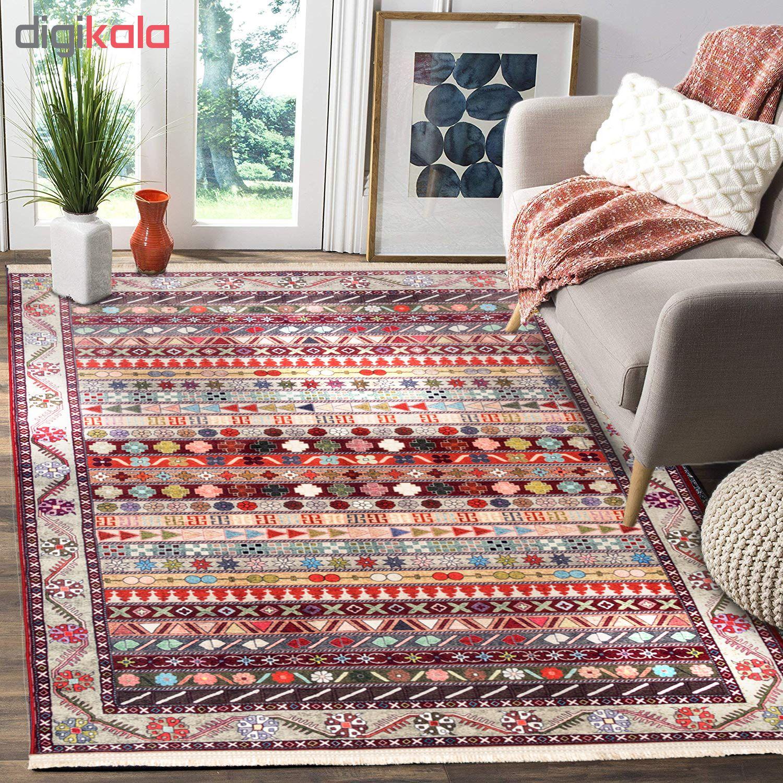 فرش ماشینی محتشم طرح سنتی مدل ترکمن کد 100315 زمینه لاکی