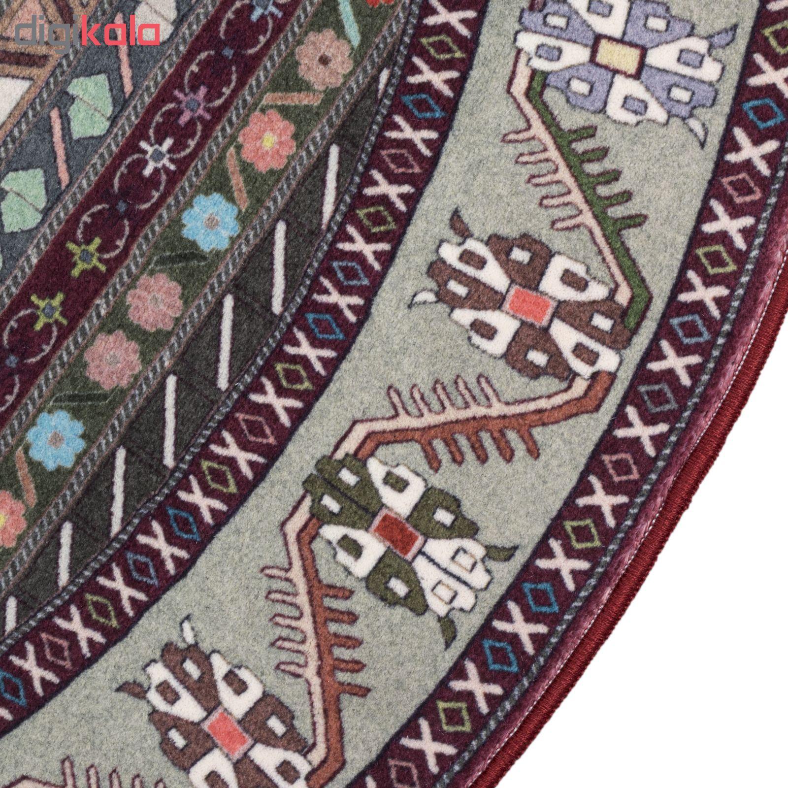 فرش ماشینی محتشم طرح گرد مدل سنتی ترکمن کد 100315 زمینه لاکی