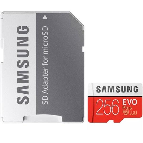 کارت حافظه microSDXC مدل Evo Plus کلاس ۱۰ استاندارد UHS-I U3 سرعت ۱۰۰MBps ظرفیت ۲۵۶ گیگابایت به همراه آداپتور SD