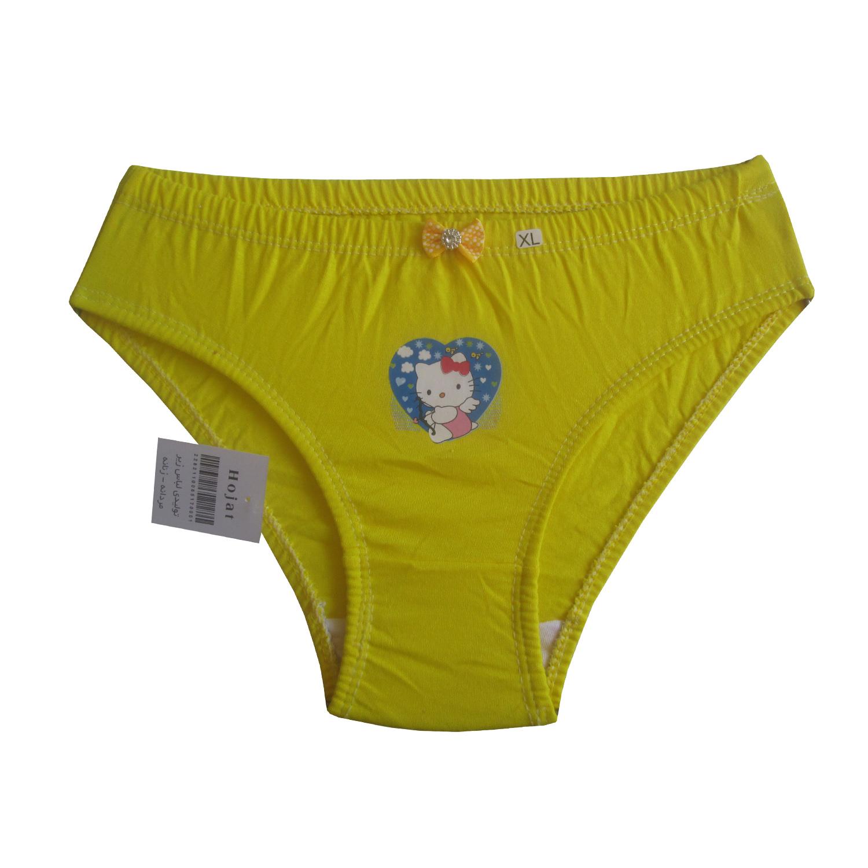 شورت دخترانه حجت طرح Hello Kitty کد KI-20386 رنگ زرد