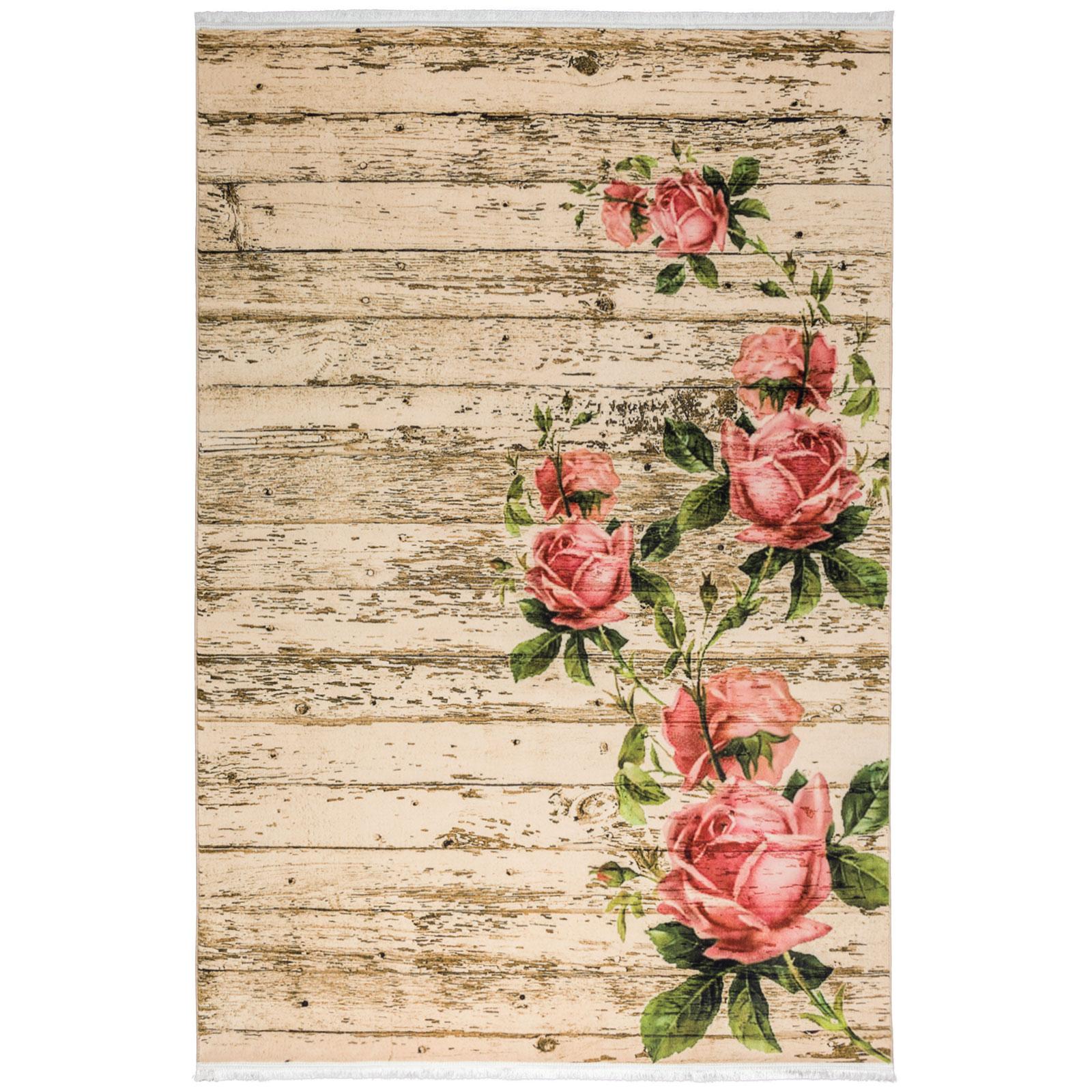 فرش ماشینی محتشم طرح گل کد 100437 زمینه بادامی