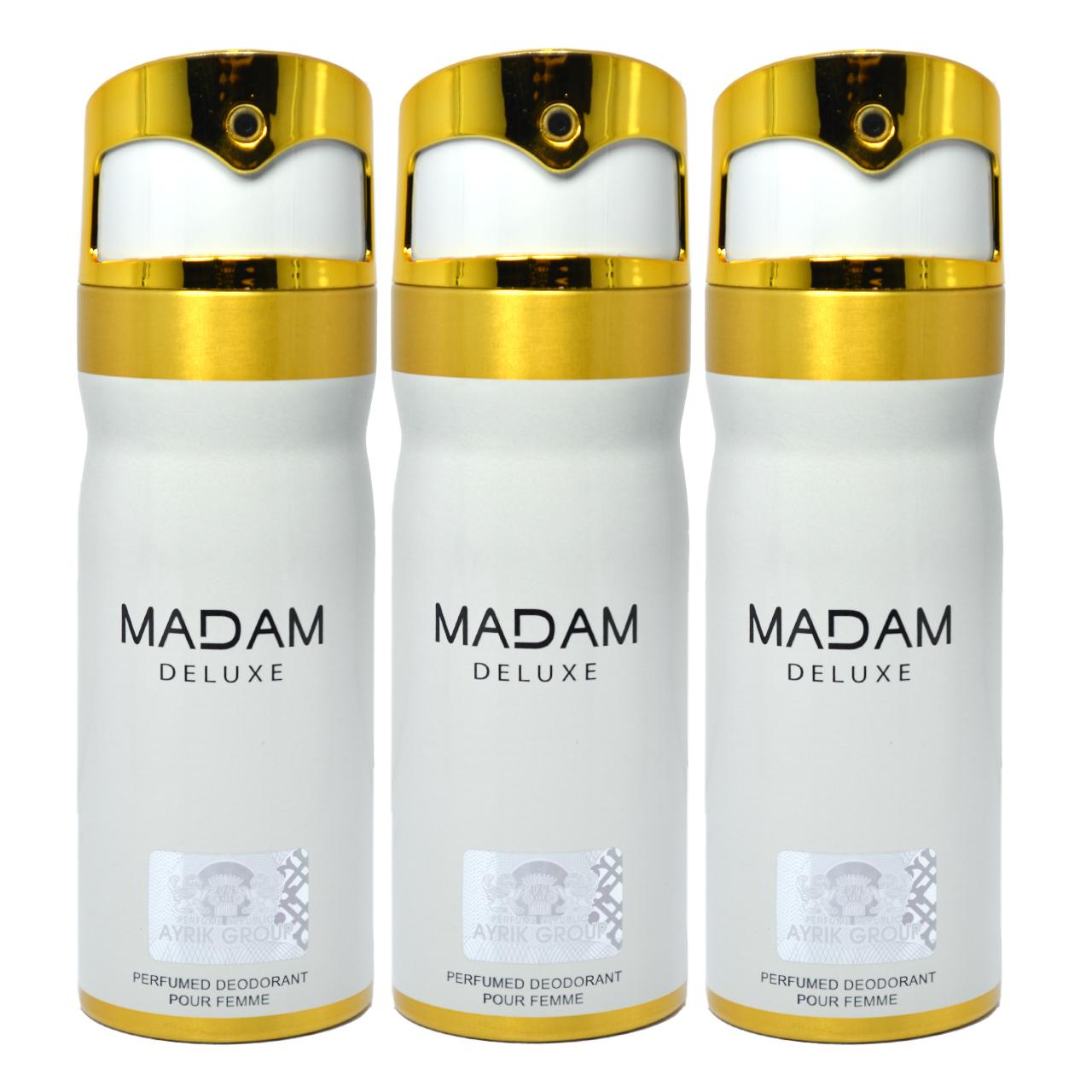 اسپری خوشبو کننده بدن زنانه مای پرفیومز مدل  Madam Deluxe حجم 150 میلی لیتر مجموعه 3 عددی