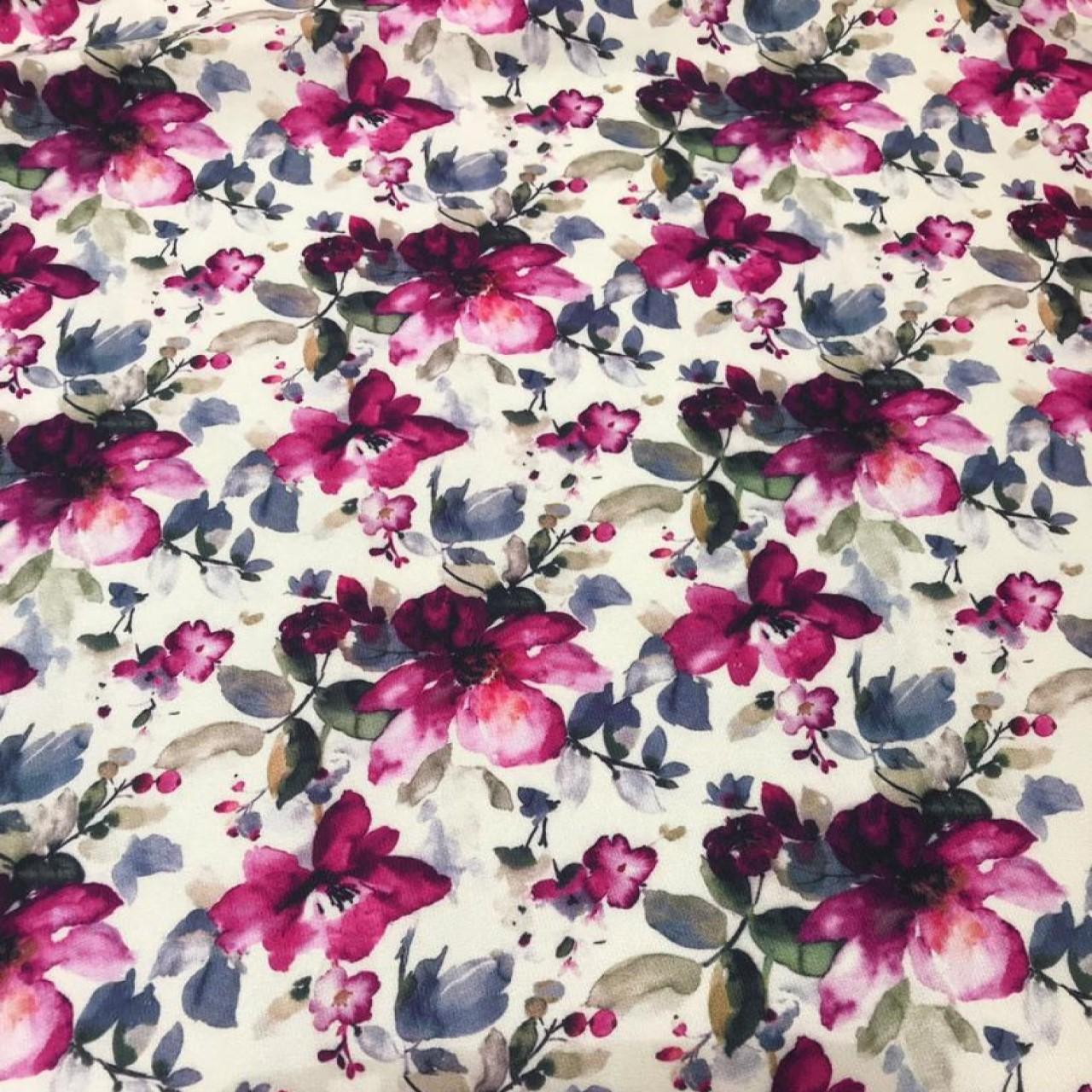 پارچه لباسی طرح تک گل آبرنگی کد 1011
