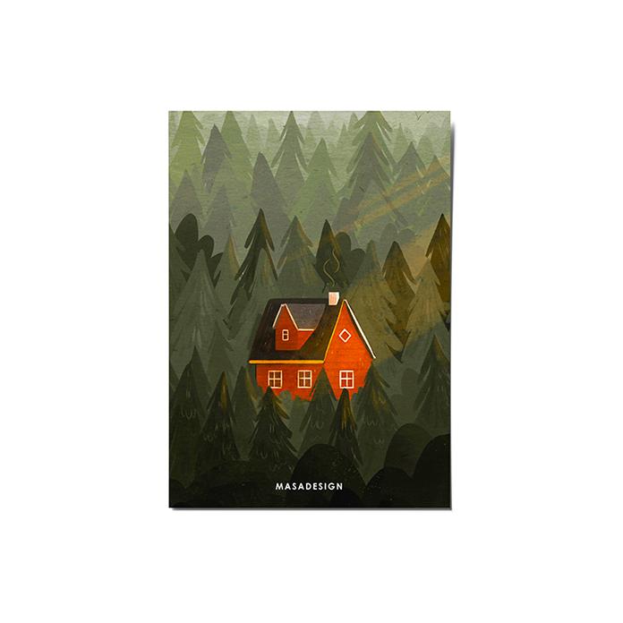 کارت پستال ماسا دیزاین طرح کلبه جنگلی کد POST107