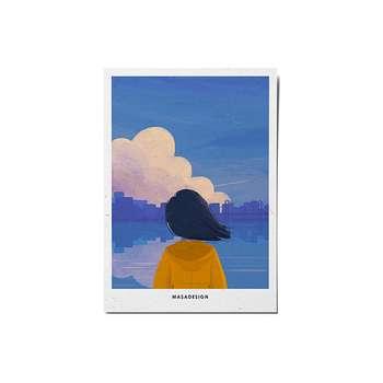 کارت پستال ماسا دیزاین طرح دختر دریا کد POST109