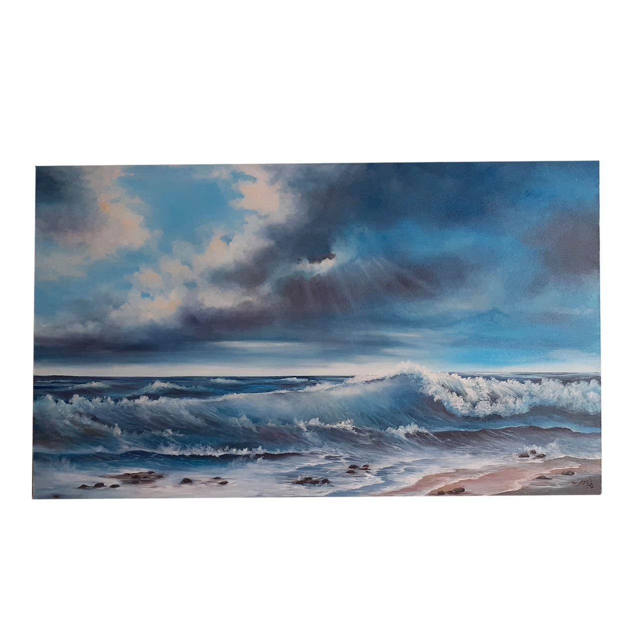 تابلو نقاشی رنگ روغن طرح دریا کد 021