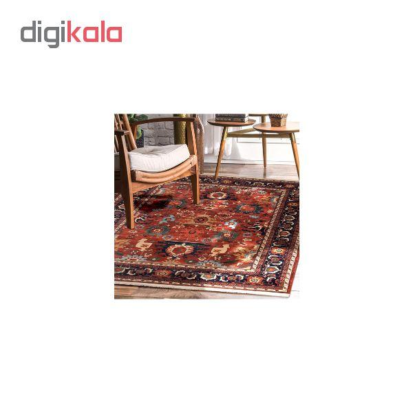 فرش ماشینی مدل سنتی طرح گبه کد 200282 زمینه لاکی