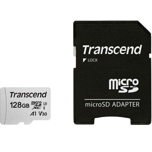 کارت حافظه  microSDXC ترنسند مدل 300s  کلاس 10 استاندارد UHS-U3 سرعت 95MBps ظرفیت 128 گیگابایت به همراه آداپتور SD