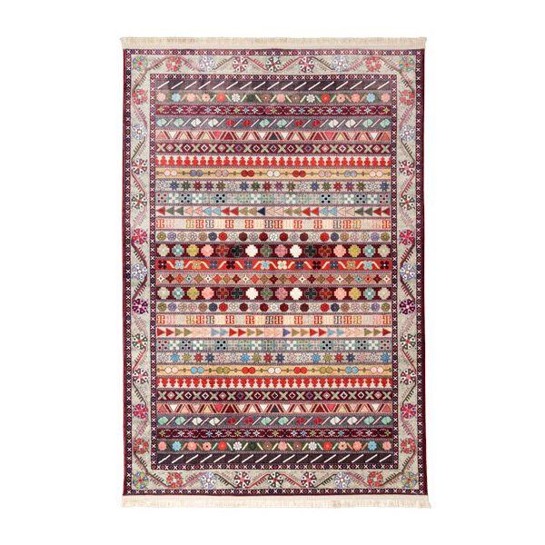 فرش ماشینی طرح گبه مدل سنتی کد 100315 زمینه لاکی