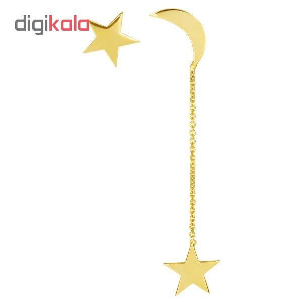 گوشواره طلا 18 عیار طرح ماه و ستاره کد UN078