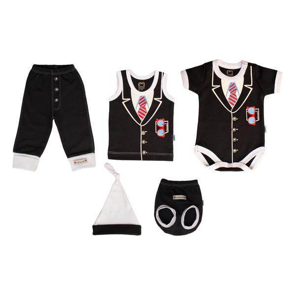 ست 5 تکه لباس نوزادی پسرانه آدمک مدل جنتلمن کد 04
