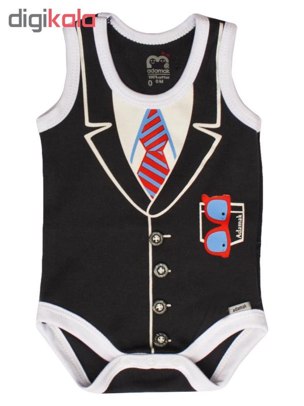 ست بادی و شلوارک نوزادی پسرانه آدمک مدل جنتلمن کد 07