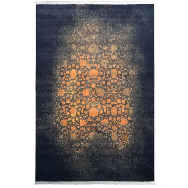 فرش ماشینی محتشم طرح کهنه نما کد 100603 زمینه طلایی