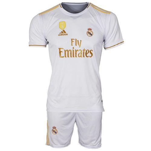 ست پیراهن و شورت ورزشی مردانه طرح رئال مادرید کد 2019-20  رنگ سفید