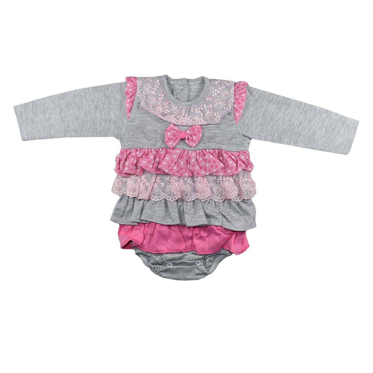 بادی آستین بلند نوزادی دخترانه کد 502-4