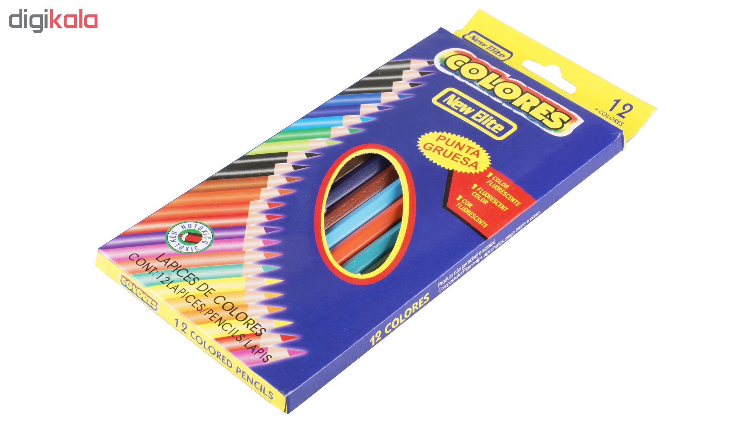 مداد رنگی 12 رنگ نیو الیت مدل Colores main 1 2