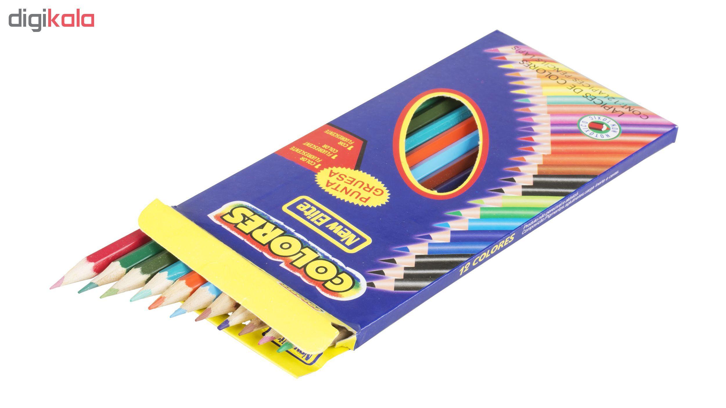 مداد رنگی 12 رنگ نیو الیت مدل Colores main 1 3