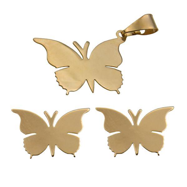 نیم ست طلا 18 عیار زنانه طرح پروانه کد 453M171