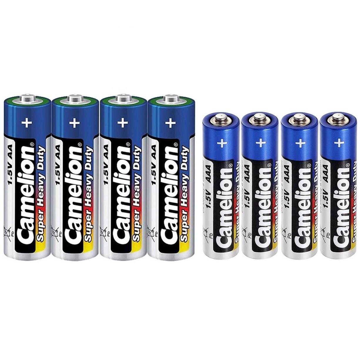 باتری قلمی و نیم قلمی کملیون مدل Super Heavy Duty  کد 02 مجموعه 8 عددی
