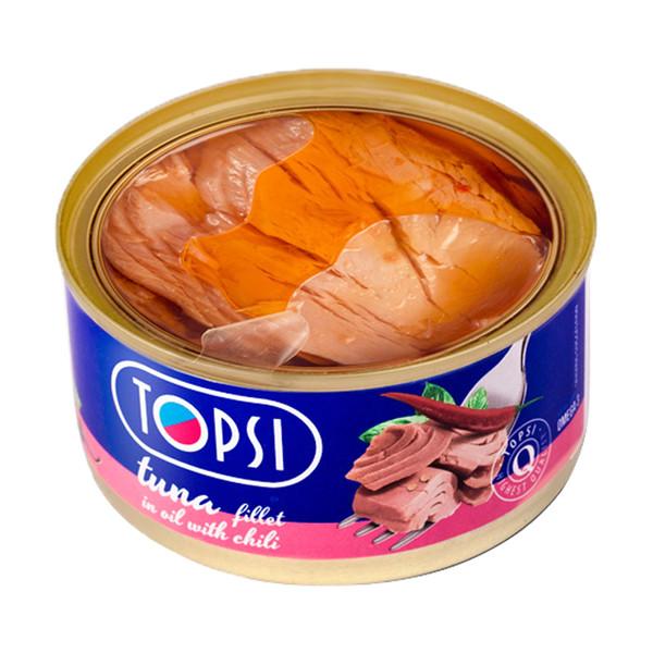 کنسرو ماهی فیله تن در روغن با طعم فلفل قرمز تاپسی مقدار 180 گرم