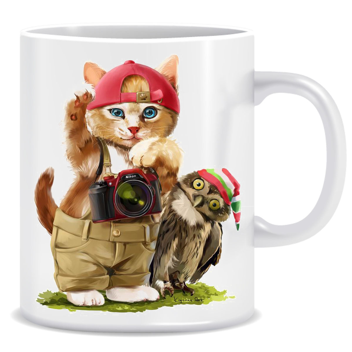 ماگ طرح گربه و جغد کد 124