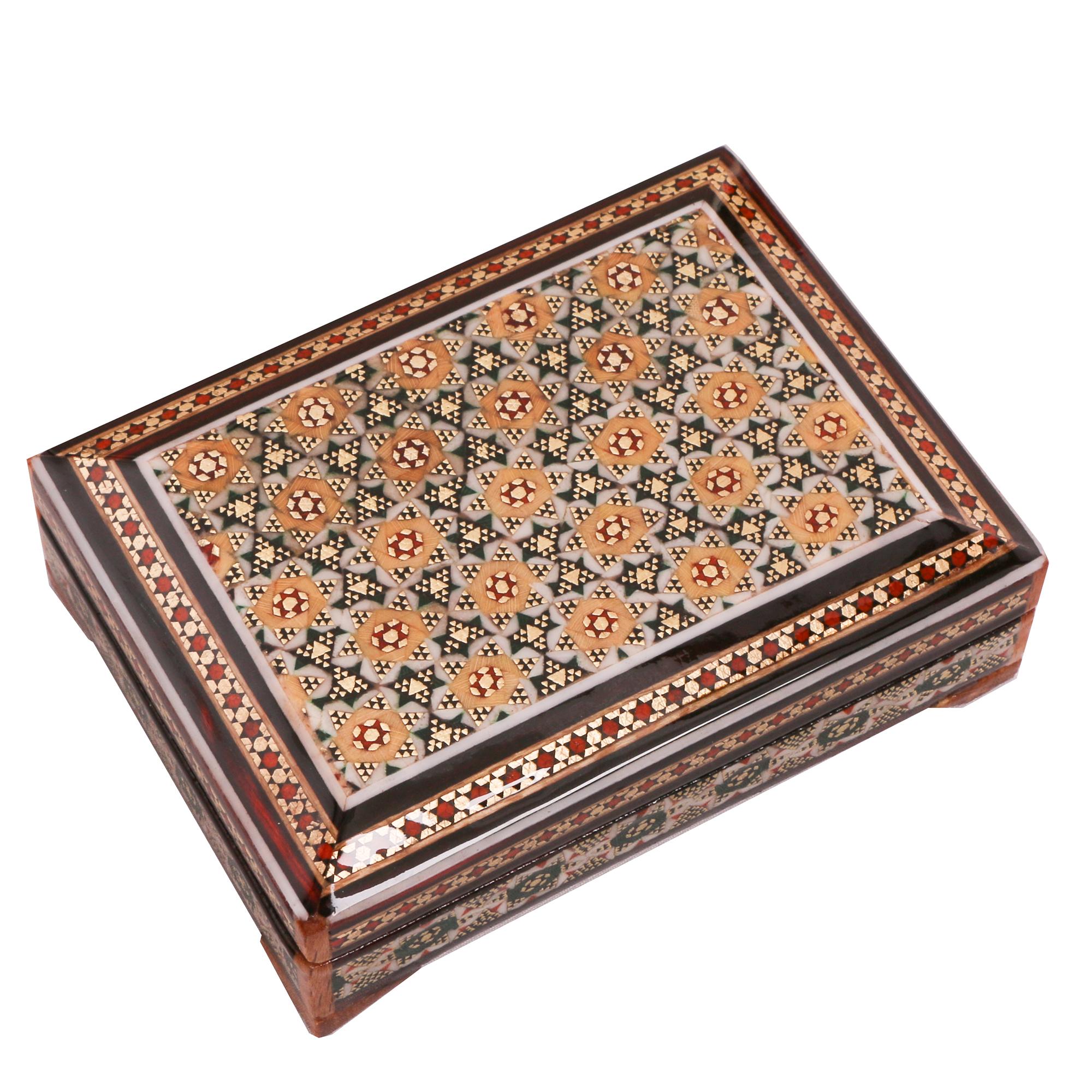 خرید                      جعبه جواهرات خاتم کاری کد 866