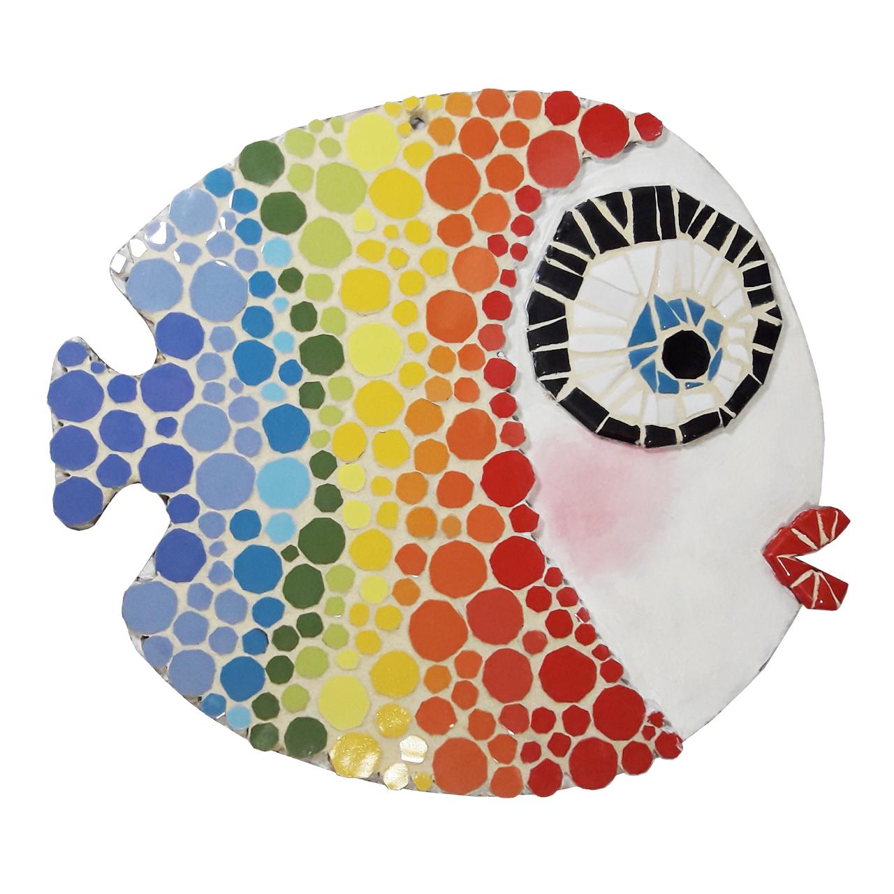 تابلو کاشی کاری طرح ماهی رنگین کمانی کد MA-2-01