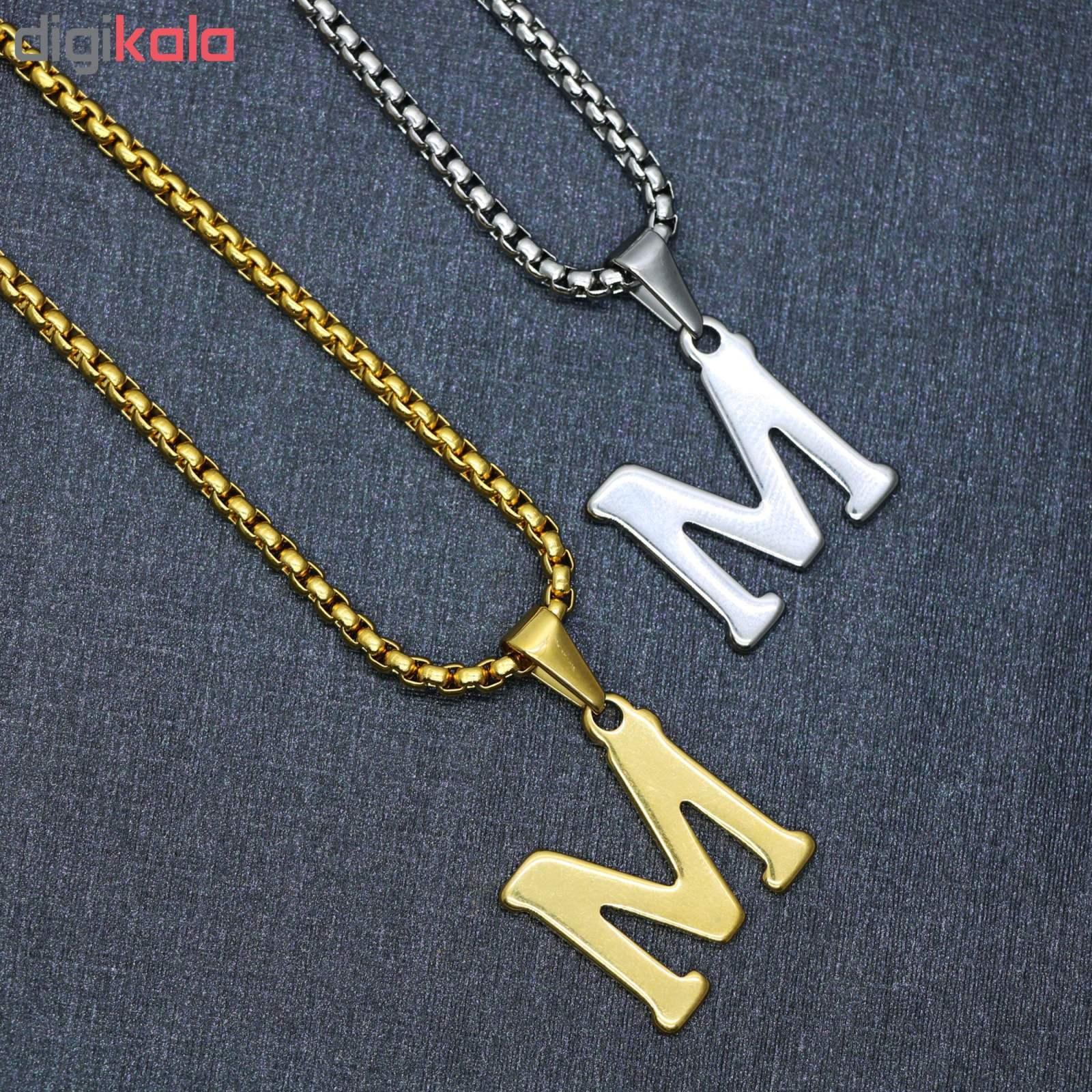 گردنبند مردانه طرح حرف M کد h03 main 1 1