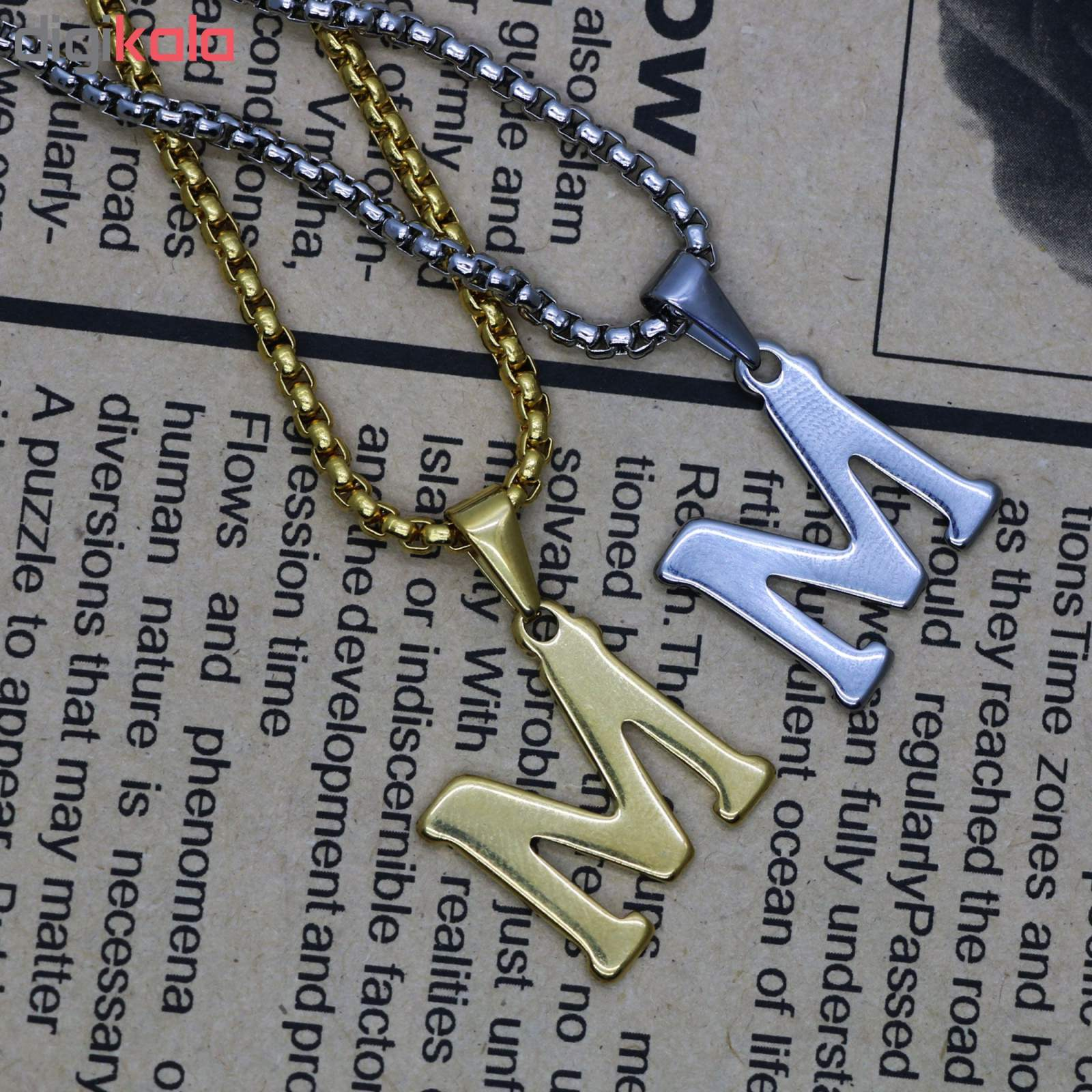 گردنبند مردانه طرح حرف M کد h03 main 1 2