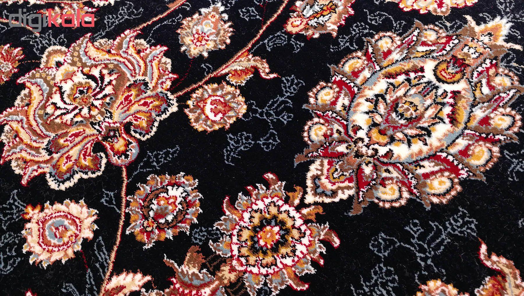 فرش ماشینی زمرد مشهد طرح افشان رنگ مدل گل درشت زمینه سورمه ای