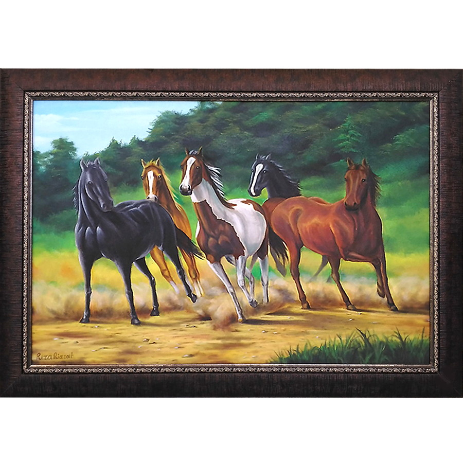 خرید                      تابلو نقاشی رنگ روغن طرح گله اسب