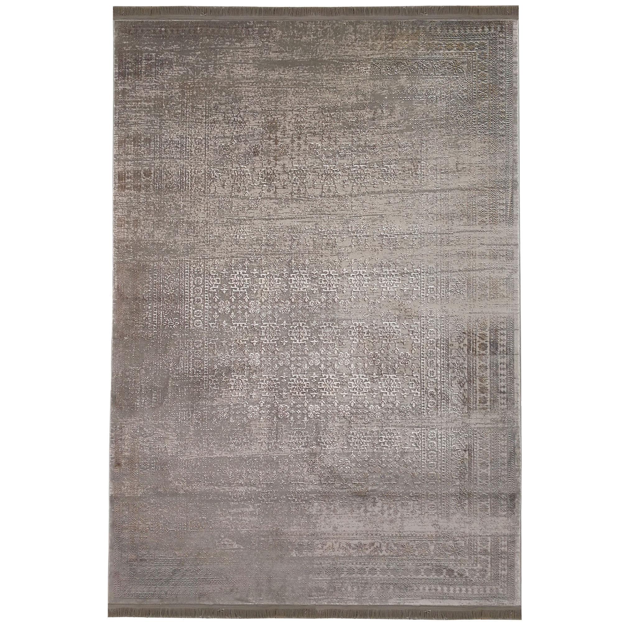 فرش ماشینی زمرد مشهد طرح پتینه کد TA104 زمینه طوسی