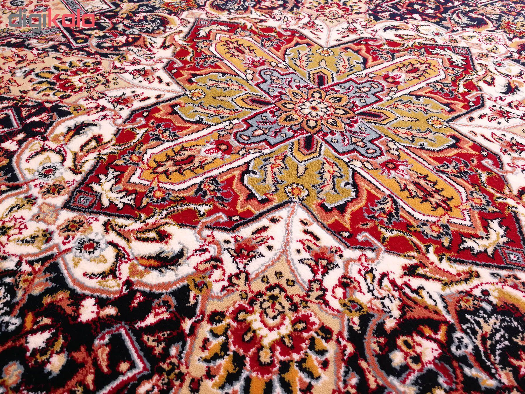 فرش ماشینی زمرد مشهد طرح خشتی مدل ترنج زمینه آبی
