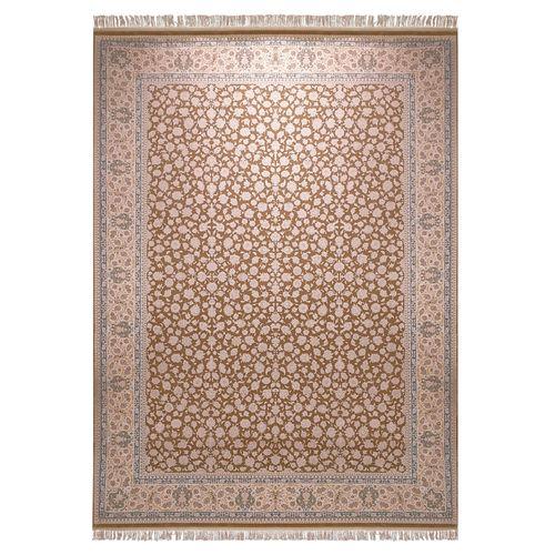فرش ماشینی زمرد مشهد طرح افشان زمینه کرم شکلاتی