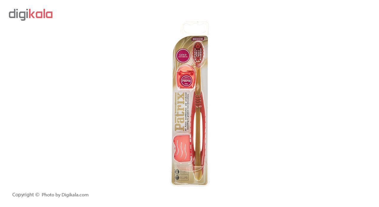 مسواک پاتریکس کد 345 با برس متوسط به همراه نخ دندان main 1 1