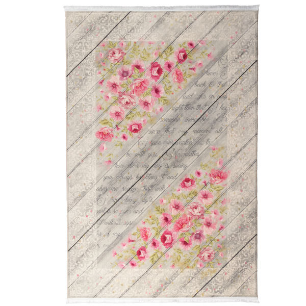 فرش ماشینی محتشم طرح گل کد 100447 زمینه فیلی