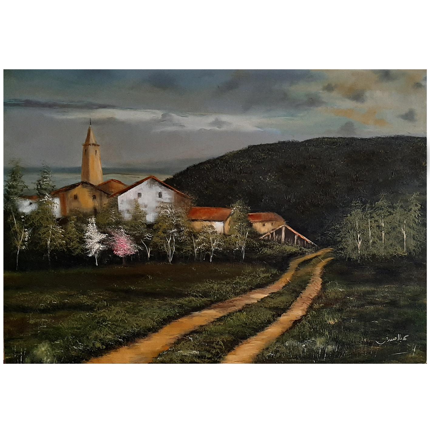 خرید                      تابلو نقاشی رنگ روغن طرح روستایی  کد 004