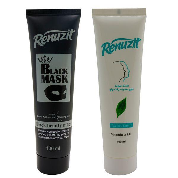 ماسک صورت رینو زیت مدل Black Mask حجم 100 میلی لیتر به همراه ماسک صورت مدل درخت چای حجم 100 میلی لیتر