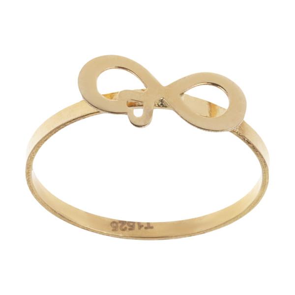 انگشتر طلا 18 عیار دخترانه طرح بی نهایت عشق