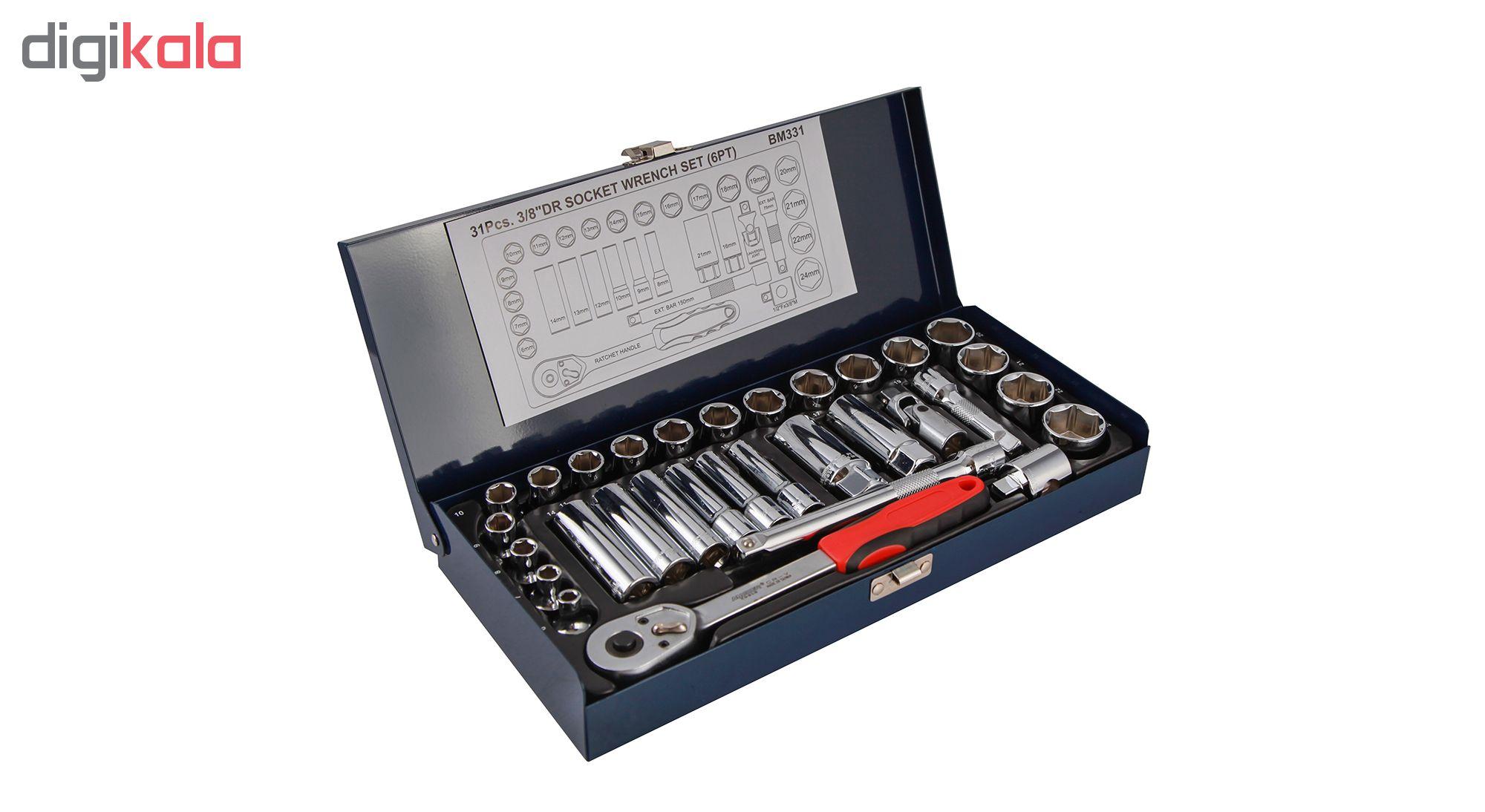 مجموعه 31 عددی آچار بکس مستر تولز مدل BM331