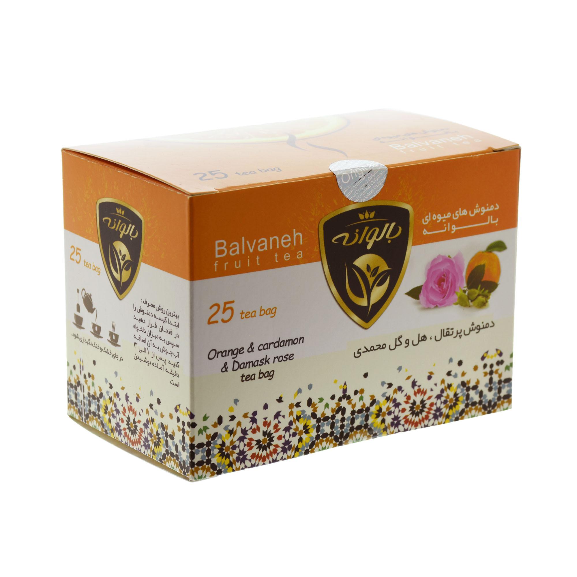 دمنوش کیسه ای پرتقال با گل محمدی و هل بالوانه بسته 25 عددی