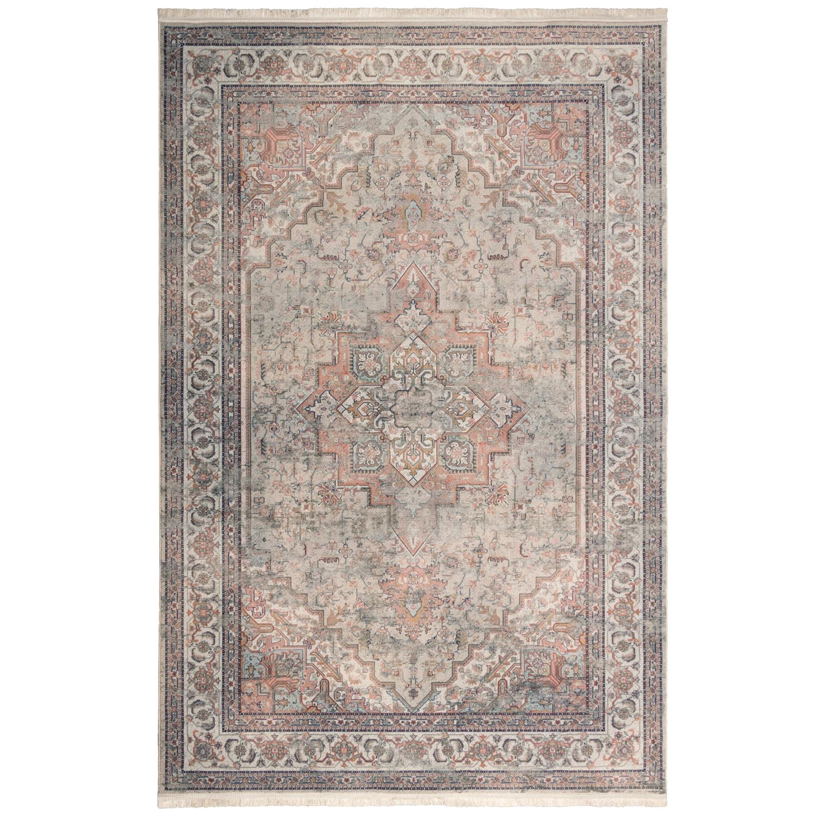 فرش ماشینی محتشم طرح کهنه نما کد 100625 زمینه بادامی