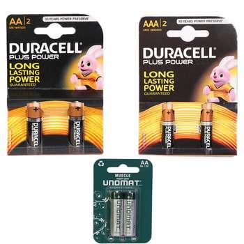باتری قلمی و نیم قلمی دوراسل مدل Plus Power Duralock بسته ۴ عددی به همراه باتری قلمی یونومات