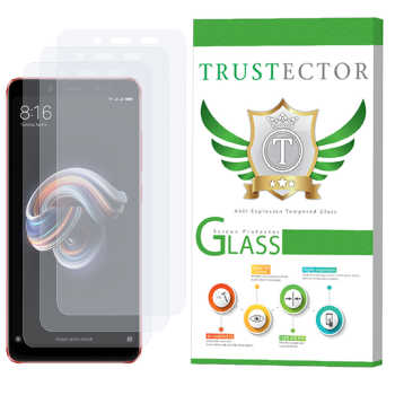 محافظ صفحه نمایش تراستکتور مدل GLS مناسب برای گوشی موبایل شیائومی Redmi Note 5 Pro بسته 3 عددی